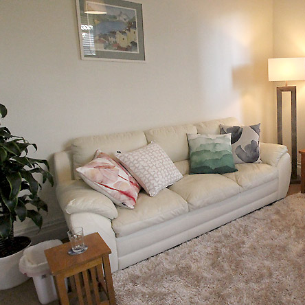 A sofa in a room for relationship counselling at the Counselling Psychologist Auckland office
